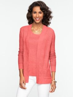 Talbots - Linen Flyaway Cardigan | New Arrivals | Misses Discover your new look at Talbots. Shop our Linen Flyaway Cardigan for stylish clothing and accessories with a modern twist at Talbots