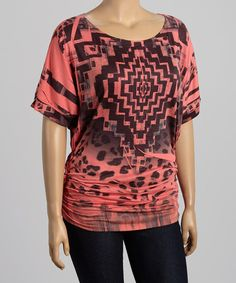 Loving this Poliana Plus Coral & Black Abstract Top - Plus on #zulily! #zulilyfinds