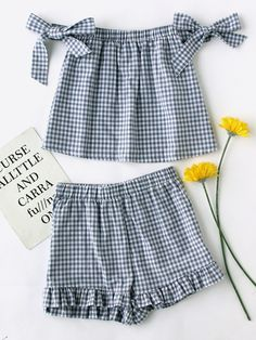 #AdoreWe #SheIn SheIn Bow Tie Detail Gingham Top With Ruffle Shorts - AdoreWe.com
