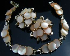Bracelet et Boucles d'Oreilles - Nacre - Marhill - Années 50