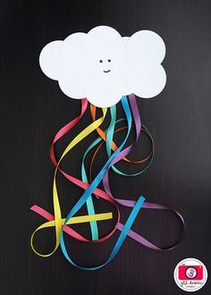 Paper Cloud Ribbon Rainbow for Kids - this would be a great spring art activity!