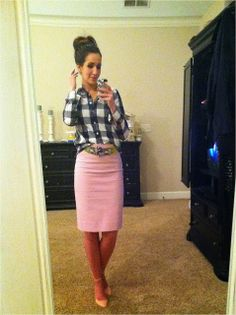 Pale pink skirt (belted) with a gingham button down