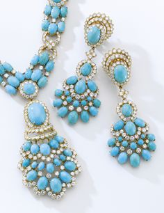 Turquoise and diamond parure, Van Cleef & Arpels, circa 1970 | lot | Sotheby's
