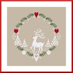 christmas xmas winter reindeer heart wreath free cross stitch pattern