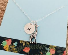 Etsy :: Your place to buy and sell all things handmade Giraffe Jewelry, Giraffe Necklace, Etsy Jewelry, Personalized Jewelry, Messages, Etsy Shop, Pendant Necklace, Random, Gifts