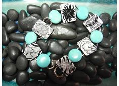 B&W Zentangle® art bracelet with teal bead accents - Hand Drawn Zentangle Tiles - BoTangles on Etsy, $27.00