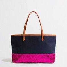 Factory girls glitter canvas bag