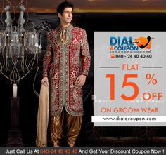 Get Individual And Beatifully Designed  Mens Wedding Outfits And Suits, To Add A Personal Touch To Your Big Day. Call Dial A Coupon Now And Get Flat 15% Off,
