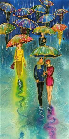 Romantic Umbrellas by Yelena Sidorova | mixed media artwork | Ugallery Online Art Gallery