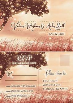 Digital Wedding Invitation SET romantic wedding by MinimalMoon