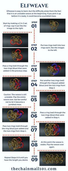 Learn how to make the Elfweave chainmail weave with this helpful infographic with computer generated images-thechainmail101.com