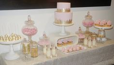 Gorgeous Gold and Pink dessert table from Cake Envy.