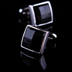 Large Black Onyx Centered Platinum Plated Cufflinks