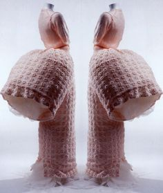 """silverscents: """" Comme des Garçons Fall/Winter 1995-1996 Baby-pink acrylic knit sweater; matching long skirt with embroidery; bustle-like tube sewn to back of skirt; tulle petticoat. """""""