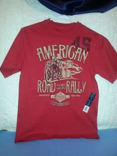 Faded Glory American Motorcycle Road Rally Boys Red Shirt Sz Lg 10-12 NWT #FadedGlory #Everyday