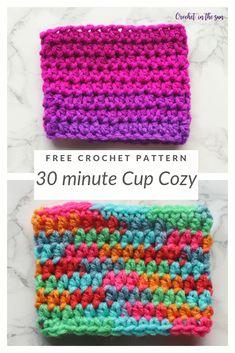 Crochet cup cozy - Free and easy crochet pattern and photo tutorial Scrap Yarn Crochet, One Skein Crochet, Crochet Cozy, Free Crochet, Quick Crochet Gifts, Crochet Geek, Beginner Crochet, Single Crochet, Coffee Cozy Pattern