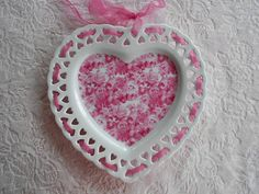 PINK HEART PLATE Rose Ribbon Lace Display by pinkchicboutique