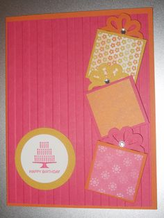 Stampin' Up! Card. Birthday greeting with gifts.