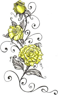 yellow rose with writing tattoo - Google Search
