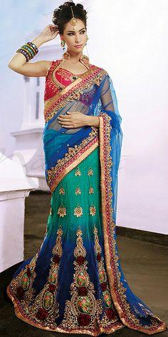 Designer Net Lehenga Style Saree