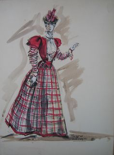 "Marianne McAndrew (Original Costume Sketch), ""Hello Dolly,"" 20th Century Fox, 1969, Designed by Irene Sharaff, The Collection of Motion Picture Costume Design: Larry McQueen"