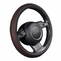 "14/"" Universal PU Leather Stitching Sport Car Racing Steering Wheel Blue New ha"