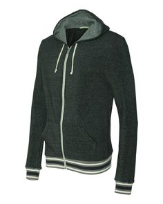 35.00 -   This One Of Soft And Warm Eco-friendly Vintage-inspired Zip hoodies You'll Want Wear!Alternative Eco-Fleece Woody Full-Zip Hooded Sweatshirt Features Old-school Striped Bands Of ..., , ebuybit.com