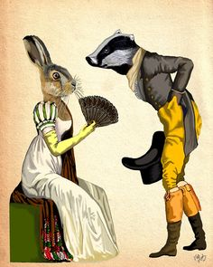 Look of Love 14x11 Art Print Illustration Poster Acrylic Painting Giclee Wall Decor Wall hanging Wall Art Badger and Rabbit Regency Dress
