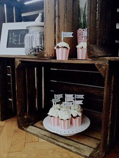 Mint Grey white baby shower. Chocolate cupcakes with mascarpone and flags. Wooden box