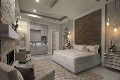 Hanging light pendants by Progress Lighting bookend the bedside in the master bedroom in The 2018 New American Home