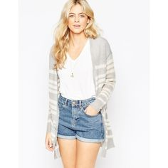 Vila Long Line Striped Cardigan (60 CAD) ❤ liked on Polyvore featuring tops, cardigans, light grey melange, striped knit top, vila, light grey cardigan, stripe cardigan and knit tops