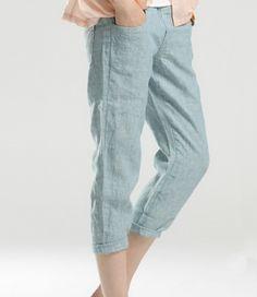 Solid Color Linen Slim Leg Pants-zeniche.com SKU da0131