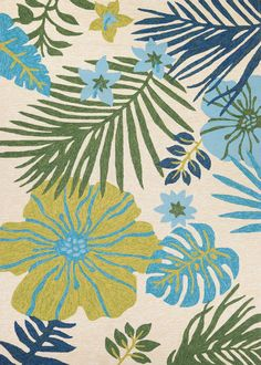 Couristan Covington Summer Laelia x Area Rug In Ivory-Fern at Lowe's. Designed with today's busy households in mind, the Covington Collection showcases versatile floor fashions with impressive performance features that Decoupage, Rectangle Area, Indoor Outdoor Area Rugs, Outdoor Patios, Outdoor Spaces, Hibiscus Flowers, Blue Area Rugs, Fern, Ivory