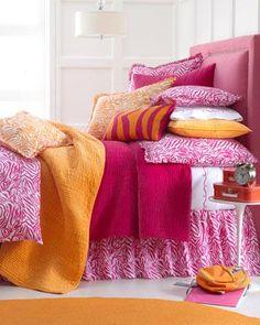 Orange and pink bedding