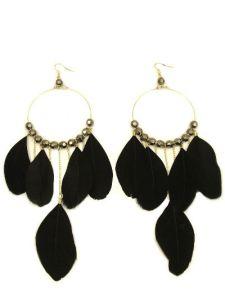 Náušnice dámske pierka, perleťové korálky, čierne