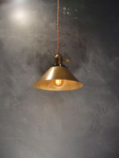 Vintage Industrial Hanging Light with Steel Cone Shade - Machine Age Minimalist Bare Bulb Pendant Lamp