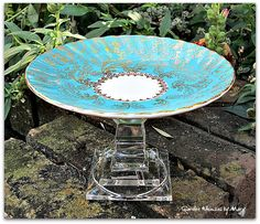 Turquoise Cupcake Stand / Pedestal Stand  by GardenWhimsiesByMary, $18.00