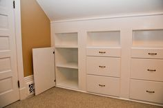 For barn studio. under eaves Quilt room built in cabinets traditional storage and organization. Attic Organization, Attic Storage, Organizing, Wall Storage, Storage Ideas, Built In Dresser, Built In Cabinets, Cupboards, Attic Spaces