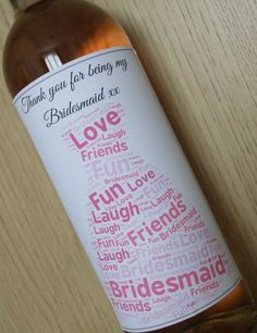 Personalised Wine Labels for Bridesmaids, Great Gift Idea