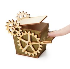 Kick your office into high gear with this steampunk-style receptacle. Wooden Crafts, Wooden Diy, Wooden Boxes, Woodworking Patterns, Woodworking Shop, Woodworking Projects, Router Projects, Diy Wood Projects, Graveuse Laser