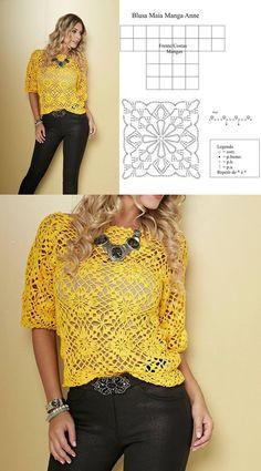 Fabulous Crochet a Little Black Crochet Dress Ideas. Georgeous Crochet a Little Black Crochet Dress Ideas. Débardeurs Au Crochet, Pull Crochet, Mode Crochet, Crochet Jacket, Crochet Diagram, Crochet Woman, Crochet Cardigan, Crochet Stitches, Crochet Baby
