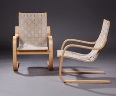 Alvar Aalto chair no.406 for Artek, made in Finland. Designed in 1937. Manufactured in 1996. Four available.
