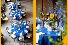 bluebonnet blue and sunflower yellow for wedding -- flowers ONLY. Picture on white linens with Burlap.