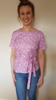 Lilac bird print wrap top in 100% cotton.