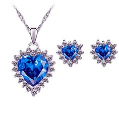 Real Titanic, Blue Crystals, Heart Shapes, Pendant Necklace, Jewelry, Jewlery, Jewerly, Schmuck, Jewels