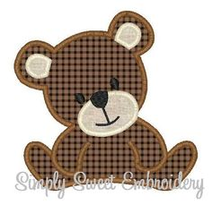Teddy Bear Machine Embroidery Applique by SimplySweetEmbroider Quilting Templates, Applique Templates, Applique Patterns, Applique Designs, Quilting Projects, Baby Applique, Elephant Applique, Embroidery Transfers, Machine Embroidery Applique