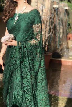 Trendy Sarees, Stylish Sarees, Fancy Sarees, Stylish Dresses, Pakistani Party Wear Dresses, Designer Party Wear Dresses, Pakistani Bridal Wear, Half Saree Designs, Saree Blouse Neck Designs