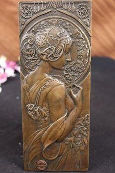 Fine Rare French Bronze Statue Bas Relief Sculpture Figure Figurine Art Nouveau