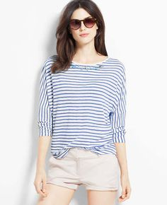Striped jewel neck tee- perfect classic/casual/laid back tee
