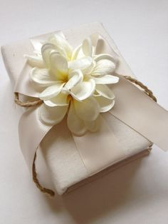 Tropical Hawaiian Plumeria Wedding Photo Album - Cream Ivory Ribbon and Ribbon and Rope Bow